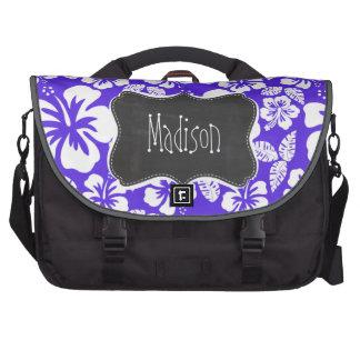 Vintage Chalkboard; Blue Violet Tropical Hibiscus Laptop Bags