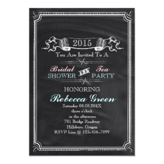vintage Chalkboard bridal shower tea party Card