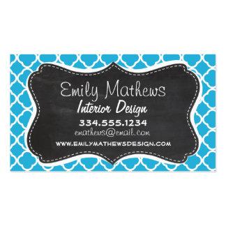 Vintage Chalkboard; Bright Cerulean Quatrefoil Pack Of Standard Business Cards