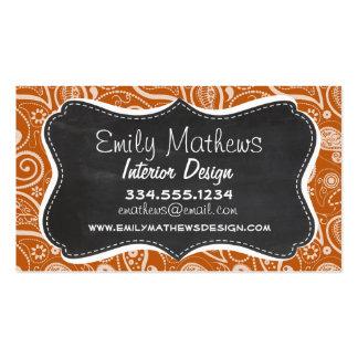 Vintage Chalkboard Burnt Orange Paisley; Floral Business Cards