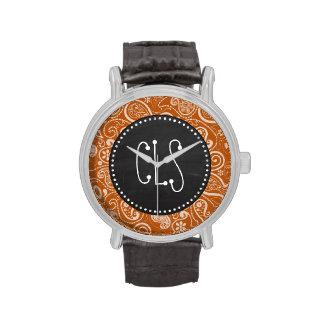Vintage Chalkboard Burnt Orange Paisley; Floral Wristwatches