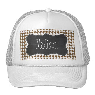 Vintage Chalkboard Chocolate Brown Houndstooth Mesh Hats