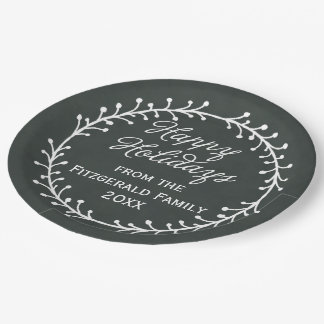 Vintage Chalkboard Christmas Wreath Happy Holidays 9 Inch Paper Plate