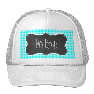 Vintage Chalkboard; Cyan Gingham; Checkered Cap