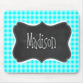 Vintage Chalkboard; Cyan Gingham; Checkered Mouse Pad
