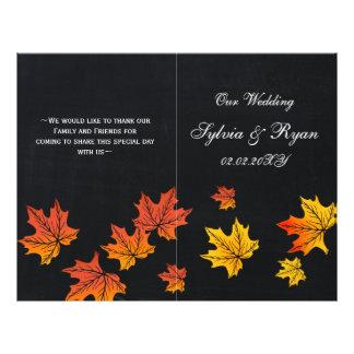 Vintage Chalkboard fall wedding programs folded Flyer Design