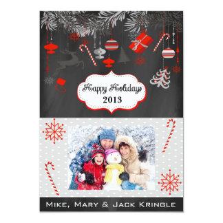 Vintage Chalkboard Flat Happy Holidays Photo Card 13 Cm X 18 Cm Invitation Card