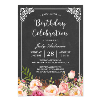 Rustic birthday party invitations announcements zazzle vintage chalkboard floral birthday celebration card stopboris Gallery