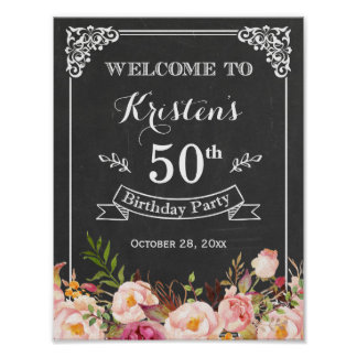 Vintage Chalkboard Floral Birthday Party Sign Poster