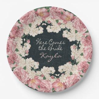 Vintage, Chalkboard, Floral Bridal Shower Plates 9 Inch Paper Plate