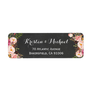 Vintage Chalkboard Floral Wrapping Return Address Label