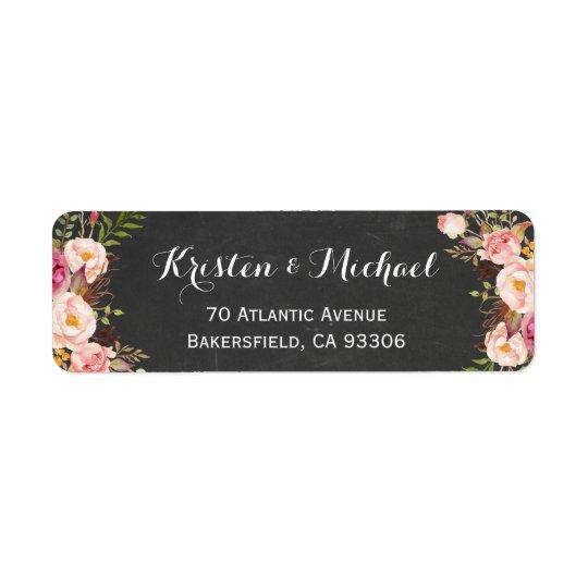 Vintage Chalkboard Floral Wrapping Return Address Label