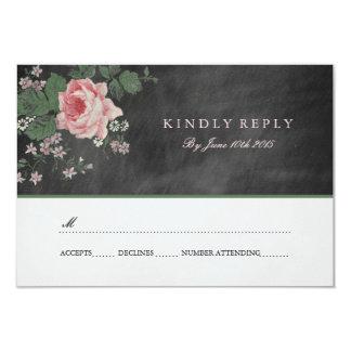 VINTAGE CHALKBOARD FLOWER WEDDING RSVP INVITATIONS
