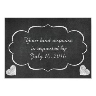 Vintage Chalkboard Heart Wedding RSVP Card