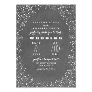 Vintage Chalkboard Inspired Baby's Breath Wedding 13 Cm X 18 Cm Invitation Card