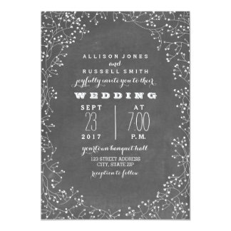 Vintage Chalkboard Inspired Baby's Breath Wedding Card