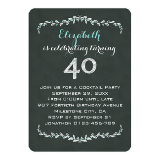Vintage Chalkboard Laurel 40th Birthday Party Card