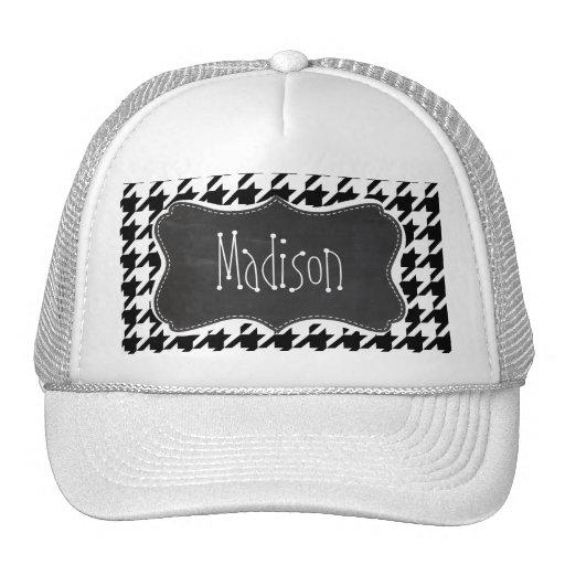 Vintage Chalkboard look; Black & White Houndstooth Hat
