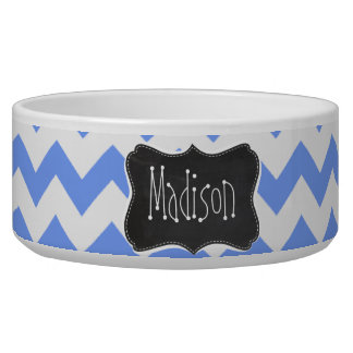 Vintage Chalkboard look, Blue Chevron Pattern