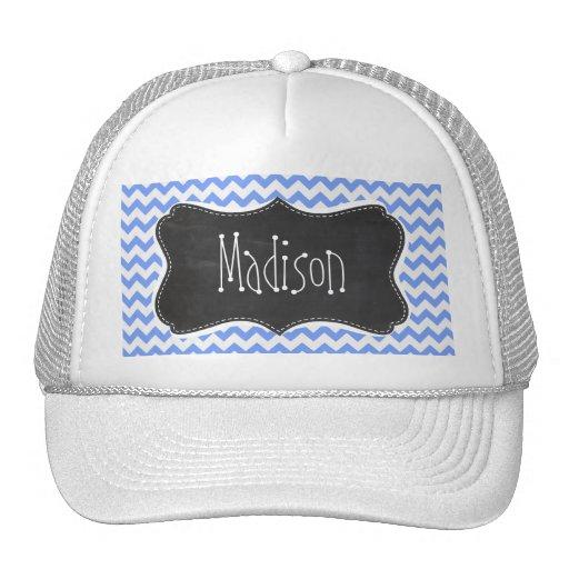Vintage Chalkboard look, Blue Chevron Pattern Trucker Hat