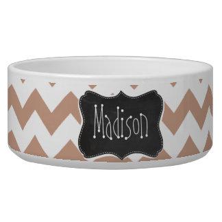 Vintage Chalkboard look; Brown Chevron Pattern Dog Water Bowl