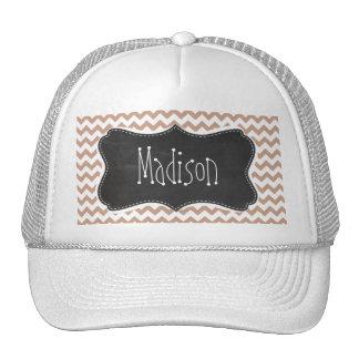 Vintage Chalkboard look Brown Chevron Pattern Trucker Hats