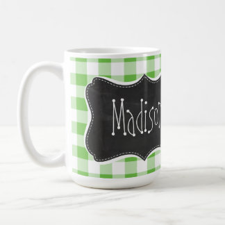 Vintage Chalkboard look, Green Checkered; Gingham Coffee Mug