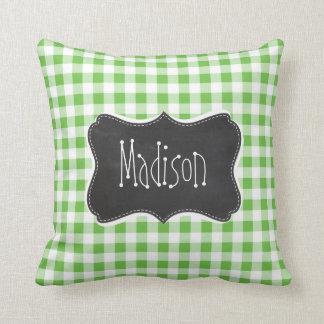 Vintage Chalkboard look, Green Checkered; Gingham Cushion