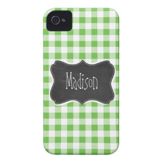 Vintage Chalkboard look, Green Checkered; Gingham iPhone 4 Case-Mate Case