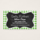 Vintage Chalkboard look, Green Chequered; Gingham Business Card