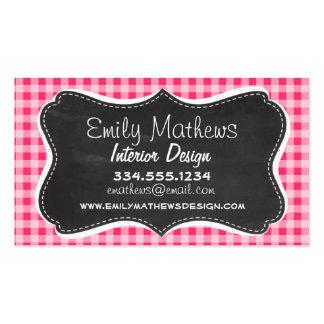 Vintage Chalkboard look; Hot Pink Gingham Business Cards