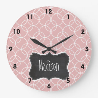Vintage Chalkboard look on Mauve Circles Large Clock