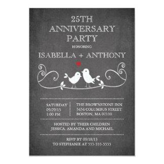 Vintage Chalkboard Love Birds Anniversary Party 13 Cm X 18 Cm Invitation Card