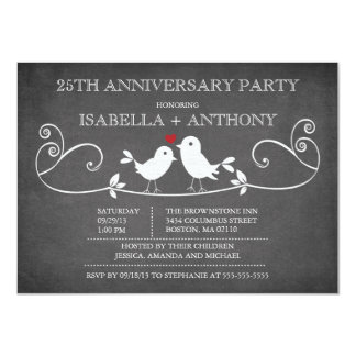 Vintage Chalkboard Love Birds Anniversary Party Card