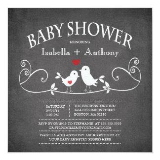 Vintage Chalkboard Love Birds Baby Shower 13 Cm X 13 Cm Square Invitation Card
