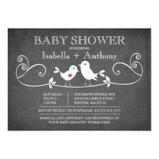 Vintage Chalkboard Love Birds Baby Shower 13 Cm X 18 Cm Invitation Card