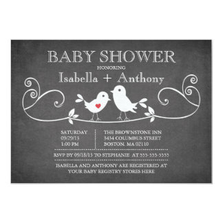 "Vintage Chalkboard Love Birds Baby Shower 5"" X 7"" Invitation Card"