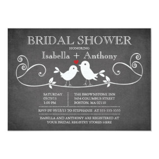 Vintage Chalkboard Love Birds Bridal Shower Card