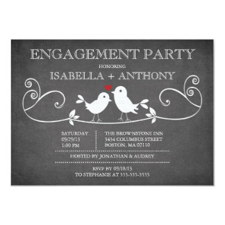 Vintage Chalkboard Love Birds ENGAGEMENT Party 11 Cm X 16 Cm Invitation Card