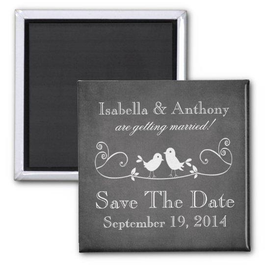 Vintage Chalkboard Love Birds Save The Date Magnet