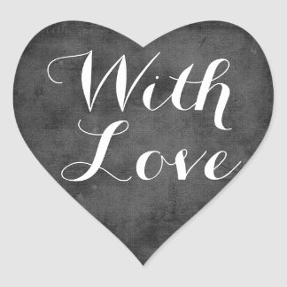Vintage Chalkboard Love Black And White Wedding Heart Sticker