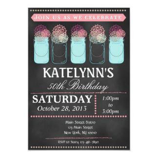 Vintage Chalkboard Mason Jar Birthday Invitation