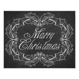 Vintage chalkboard Merry Christmas Quote Art Poster