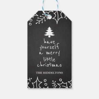 Vintage Chalkboard Merry Christmas Typography Gift Tags