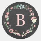 Vintage Chalkboard Monogram Floral Wreath Classic Round Sticker