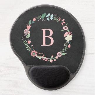 Vintage Chalkboard Monogram Floral Wreath Gel Mouse Mat