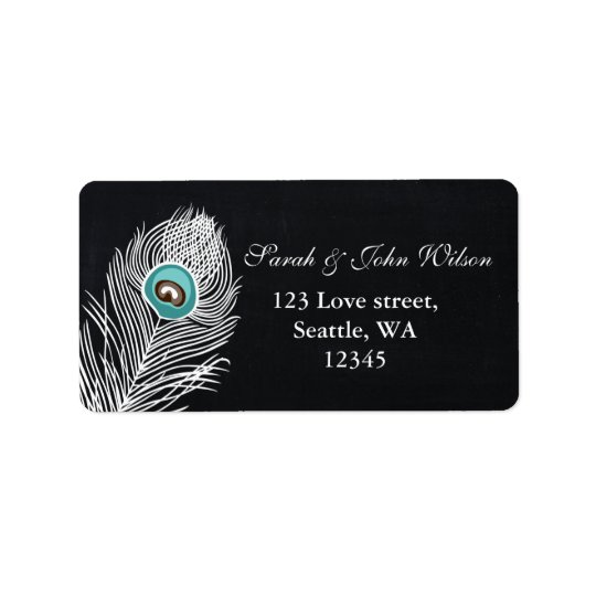 Vintage Chalkboard peacock address label