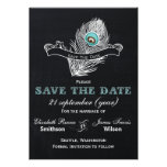 Vintage Chalkboard peacock save the date Personalized Invite