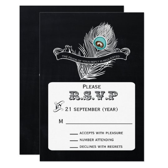 Vintage Chalkboard peacock wedding  rsvp 3.5 x 5 Card