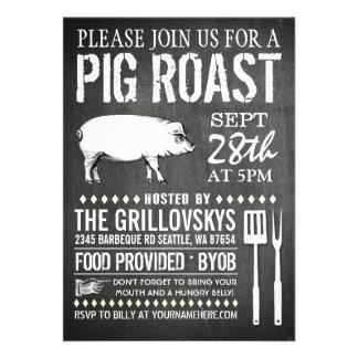 Vintage Chalkboard Pig Roast Invitation Invitation